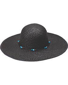 "Peter Grimm Dalia 4 1/4"" Beaded Black Straw Sun Hat"