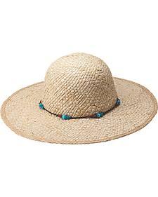 "Peter Grimm Dalia 4 1/4"" Beaded Natural Straw Sun Hat"