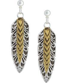 Montana Silversmiths Women's Heirloom Gold Hawk Feather Dangle Earrings