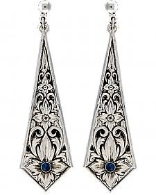 Montana Silversmiths Women's True Blue Silver Flower Filigree Dangle Earrings