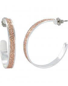 Montana Silversmiths Women's Crosscut Bright Banded Mosaic Hoop Earrings