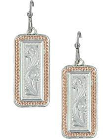 Montana Silversmiths Women's Crosscut Floral Portrait Earrings