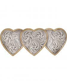 Montana Silversmiths Heirloom Gold Triple Heart Barrette