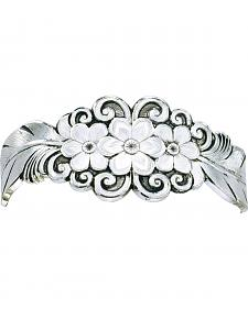 Montana Silversmiths Antiqued Silver Flower & Feather Spray Cuff Bracelet