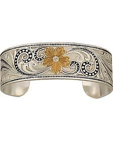 Montana Silversmiths Two-Tone Western Lace Whisper Garden Cuff Bracelet