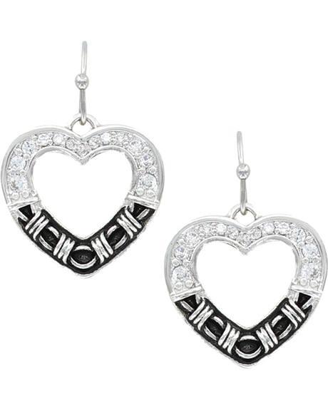 Montana Silversmiths Women's Dazzling Barbed Wire Heart Earrings