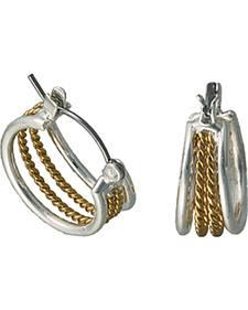 Montana Silversmiths Gold Rope Hoop Earrings