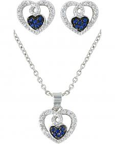 Montana Silversmiths Curlicued Cerulean Heart Jewelry Set