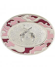 Montana Silversmiths Silver-Tone Pink Camo Crossed Pistols Belt Buckle