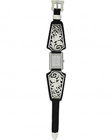 Montana Silversmiths Leathercut Floral Scroll Dress Watch