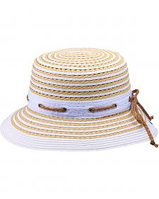 "Peter Grimm Camille 3"" Striped White Sun Hat"