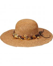 """Peter Grimm Rufina 4"""" Feather Band Tan Sun Hat"""