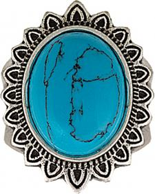 Wrangler Rock 47 Vintage Kitsch Blue Sunflower Fashion Ring