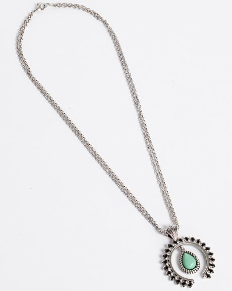 Rock 47 by Montana Silversmiths Turquoise Squash Blossom Statement Necklace