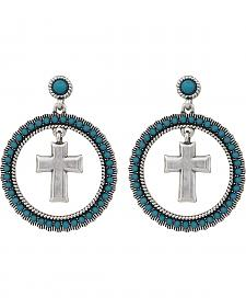 Wrangler Rock 47 Rocks and Roll Turquoise Halo Cross Earrings
