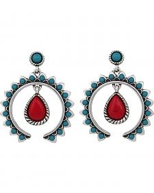 Wrangler Rock 47 Tribal Flair Red and Turquoise Squash Blossom Earrings