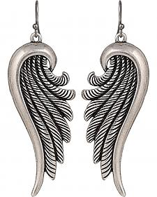 Wrangler Rock 47 Tattoo Art Sculpted Rope Wing Earrings