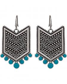 Wrangler Rock 47 Points of Aztec Chevron Turquoise Earrings