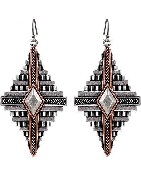 Wrangler Rock 47 Points of Aztec Two Tone Pyramid Earrings