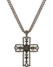 Wrangler Rock 47 Vintage Kitsch Bronze-Tone Scalloped Cross Necklace