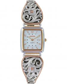 Montana Silversmiths Women's LeatherCut Rose Gold Expansion Band Watch