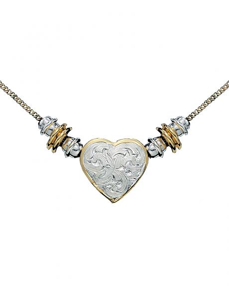 Montana Silversmiths Silver and Gold Heart Beaded Necklace