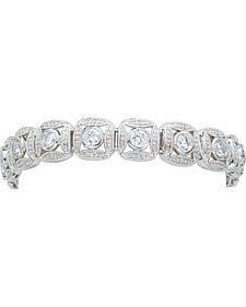Montana Silversmiths Silver Crystal Square Link Bracelet