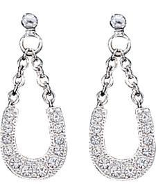 Montana Silversmiths Women's Crystal Clear Lucky Horseshoe Earrings