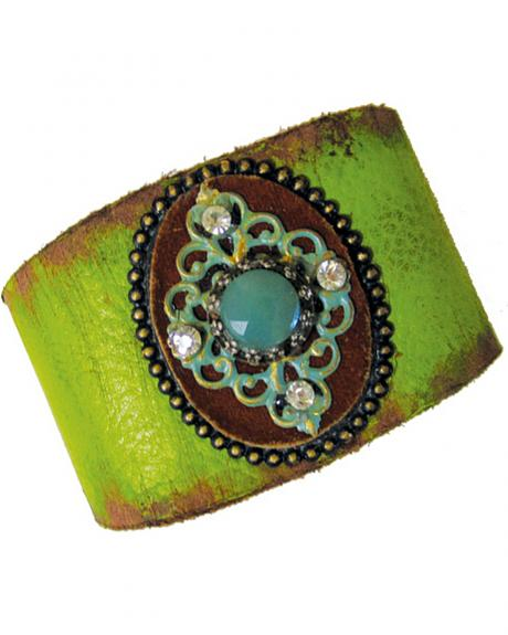 Cowgirl Confetti Leather with Patina Medallion Cuff