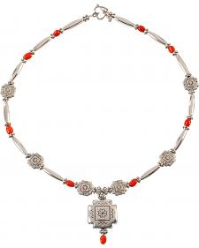 Julie Rose Red Coral and Silver Beaded Necklace