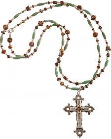 Julie Rose Mixed Bead Cross Necklace