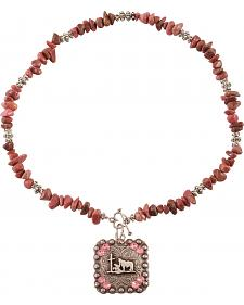 Julie Rose Praying Cowboy Pink Beaded Necklace