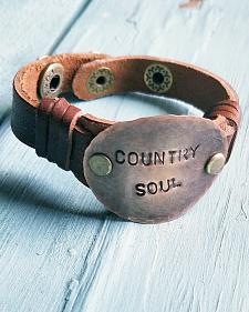 "Jewelry Junkie ""Country Soul"" Leather Stamped Bracelet"