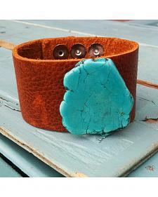 Jewelry Junkie Chunky Turquoise Leather Cuff