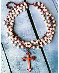 Jewelry Junkie Pearl and Copper Cross Choker