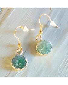 Jewelry Junkie Thin Green Druzy Earrings