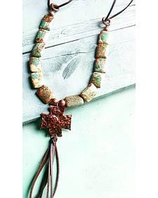 Jewelry Junkie Green Imperial Jasper Cross Necklace