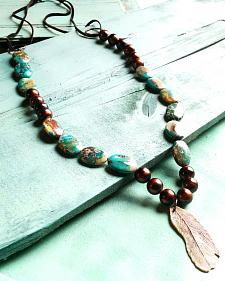 Jewelry Junkie Blue Imperial Jasper Feather Necklace