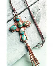Jewelry Junkie Blue Regalite Leather Cross Necklace