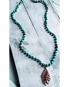 Jewelry Junkie Indian Head Green Turquoise Necklace