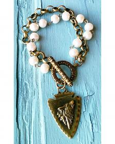 Jewelry Junkie Arrowhead Pearl and Antique Gold Bracelet