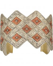 Montana Silversmiths Two Tone Copper Blossom Weave Wide Cuff Bracelet