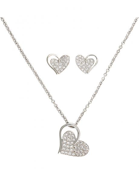 Montana Silversmiths Heart Bling Necklace and Earrings Set