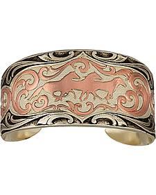 Montana Silversmiths Two Tone Horses Cuff Bracelet