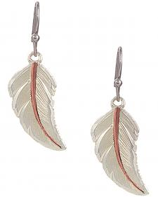 "Montana Silversmiths ""No Dream is Too Small"" Two Tone Feather Earrings"
