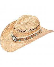 Blazin Roxx Women's Raffia Woven with Stone Band Straw Hat