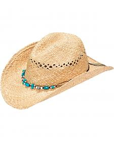 Blazin Roxx Women's Crystal & Turquoise Beaded Raffia Straw Hat