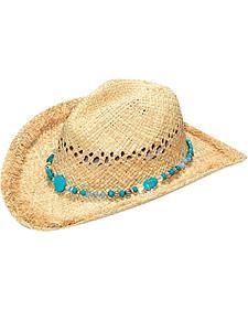 Blazin Roxx Women's Raffia Turquoise Stone Straw Hat