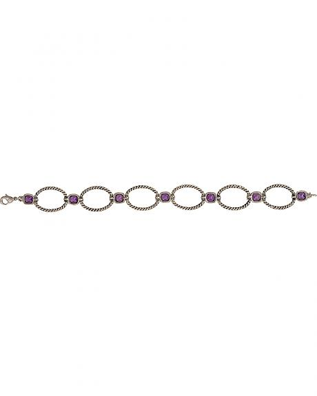 Montana Silversmiths River Lights Purple Stones Rope Link Bracelet