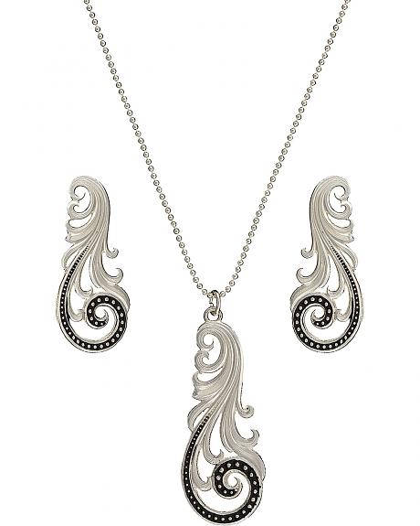 Montana Silversmiths Western Lace Whisper Necklace and Earrings Set